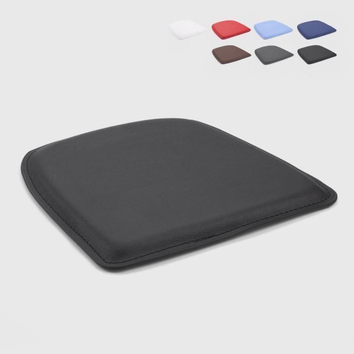 4 Coussins rembourré en simili cuir chaise tolix intérieur et extérieur 32x32 FIX - couleur:Noir
