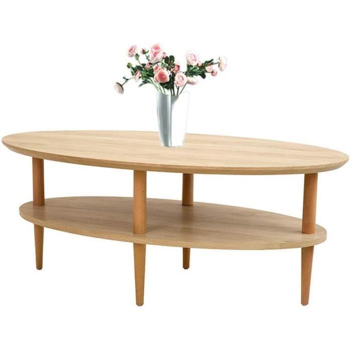 TABLE GIGOGNE FCXBQ Table Basse de Forme Ovale Table Table de Bout en Bois Double Couche Finition hecirctre Contemporain Marron122