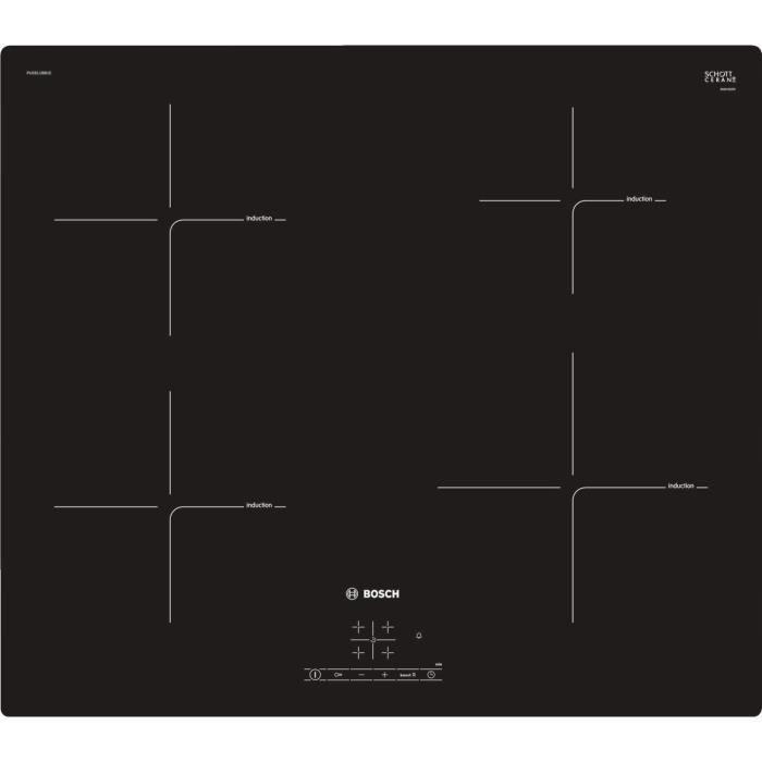 Plaque à induction Bosch PUE611BB1E - S&eacuterie 4 Table induction encastrable - 4 foyers vitroc&eacuteramique - Puissance 4637