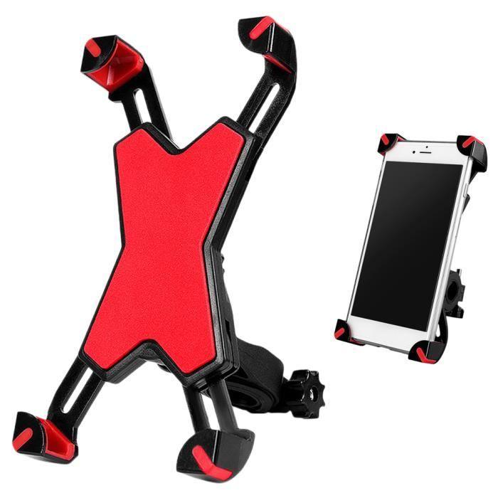 Support de téléphone de vélo rotatif à 360 ° pour vélo de route/VTT/Moto Rouge