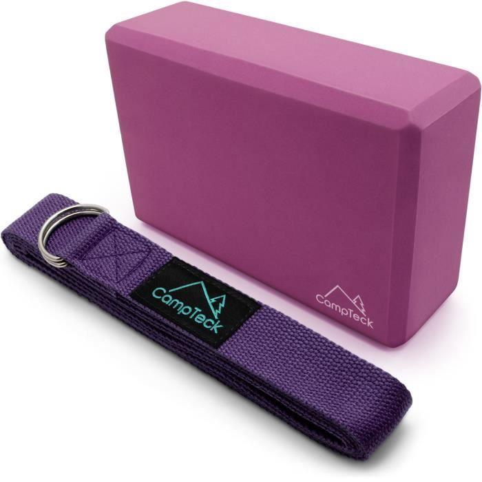 CampTeck Sangle Yoga Ceinture de Yoga Postures & Bloc Yoga Mouse Brique de Yoga Fitness [Violet 1x 183cm + 1x Bloc]