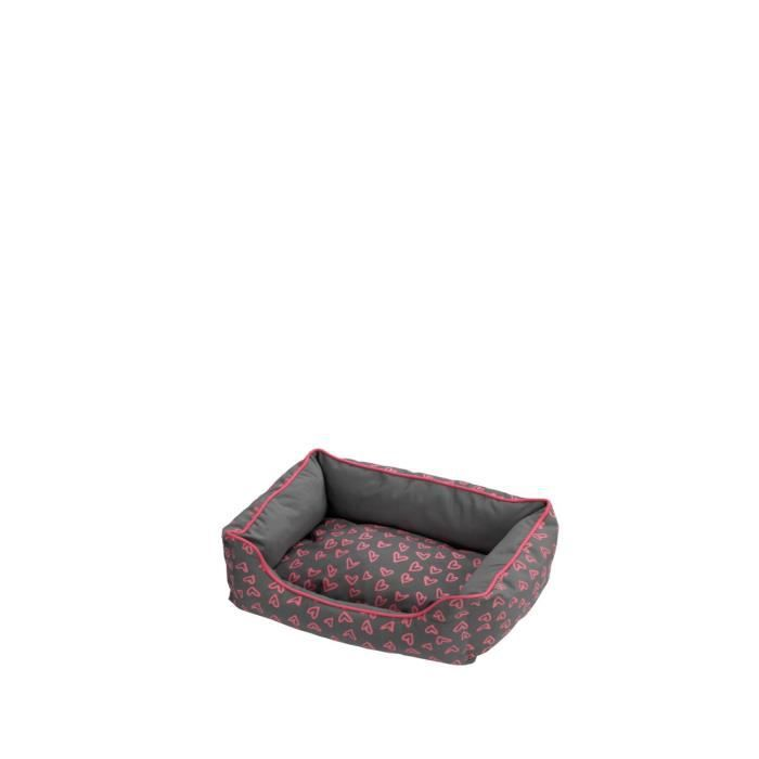 D&D Coussin Lovely Domino-Bed - 45 x 30 x 22cm - Gris / Rose