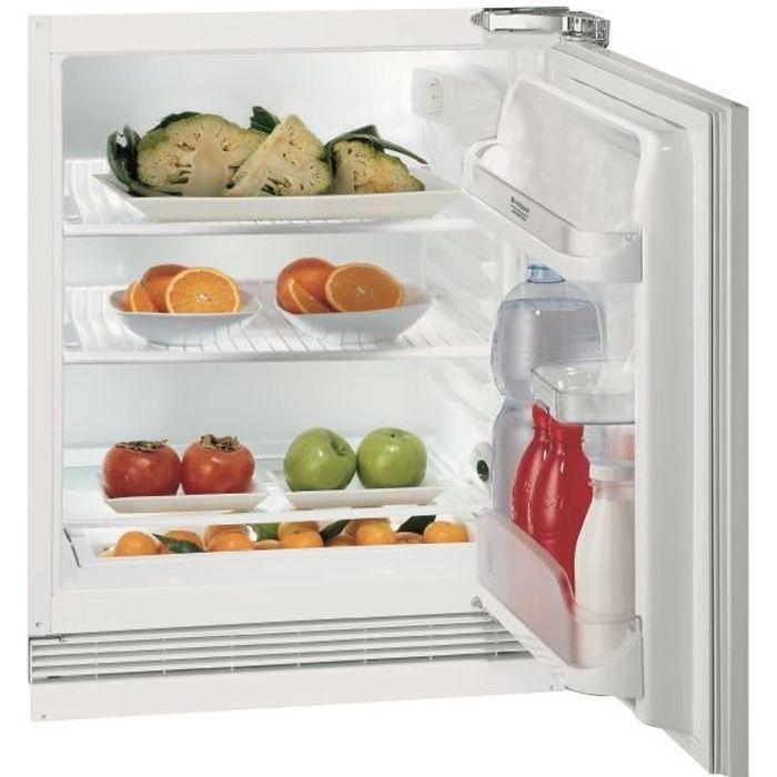 Hotpoint BTS1622/HA - Réfrigérateur 1 porte encastrable - 146L - Froid Statique - A+ - L 59,6 cm x H 81,5 cm - Fixation de porte à