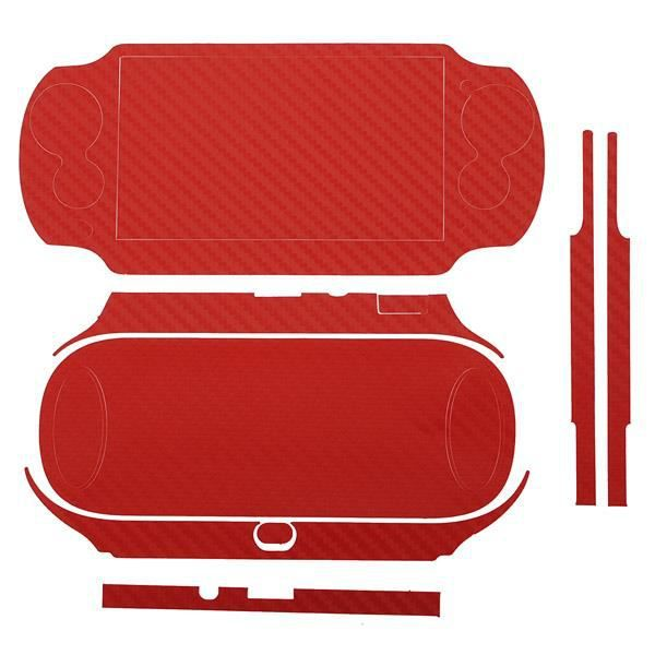 NEUFU Sticker carbone protection pour Sony PS VITA PSV 1000 ROUGE