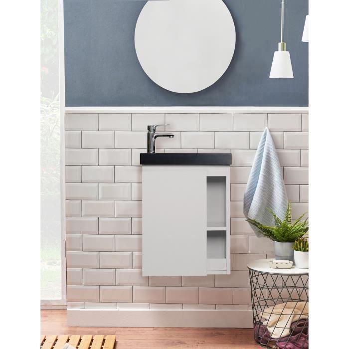 Meuble Lave-mains Blanc & noir L41,5 x H53 HAMPTON