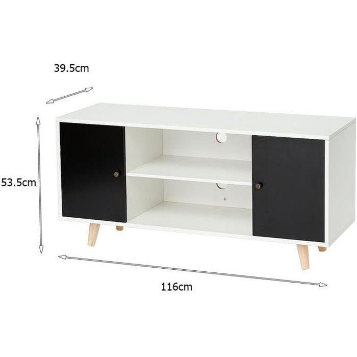 Meuble Télévision Meuble TV Bas avec Portes et Étagères pieds en bois gris foncé et blanc - L 116 cm x l 39,5 x h 53,5 cm