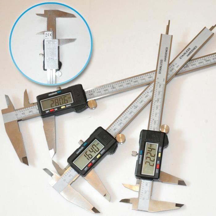 Pied à Coulisse Numérique 300 mm, Grand Écran LCD en Plastique, Deux Unités mm-pouce, Mesure de Diamètre Calibre Profondeur