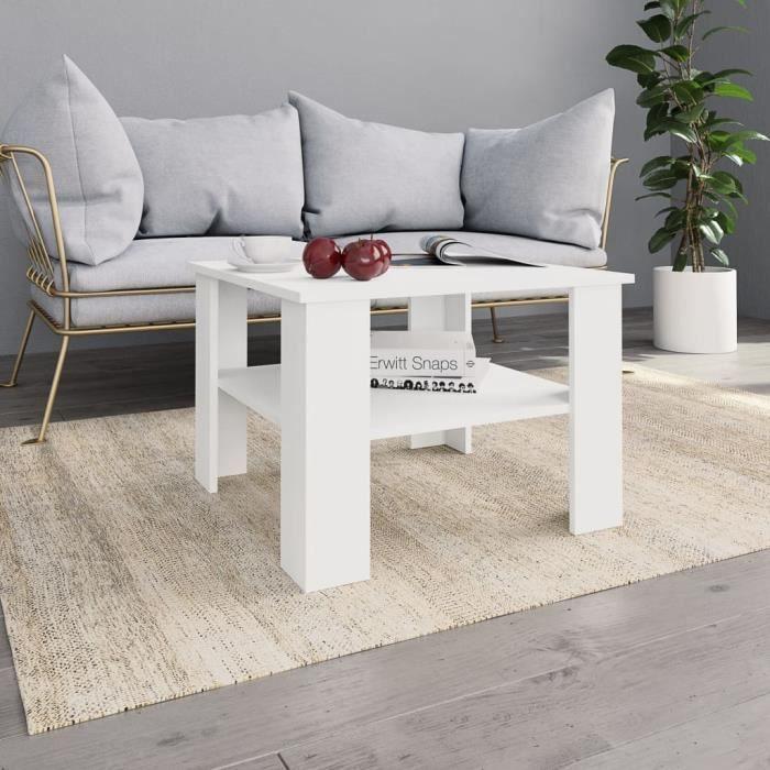 Table basse design scandinave salon contemporain Blanc 60 x 60 x 42 cm Aggloméré