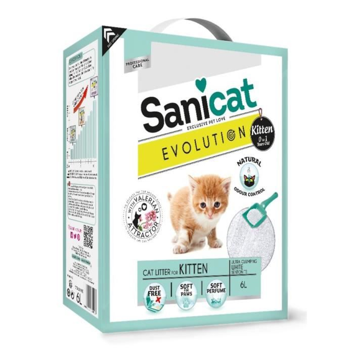 SANICAT Litière Evolution Kitten 6L - Pour chaton