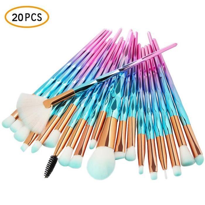 UMIWE 20Pcs Pinceau de maquillage des yeux Bleu