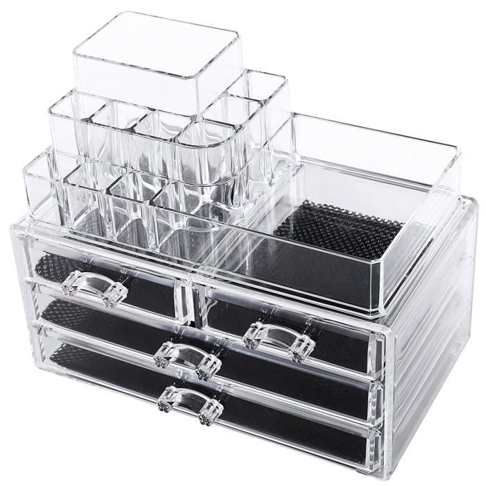 2 en 1 organisateur maquillage 4 tiroirs acrylique. Black Bedroom Furniture Sets. Home Design Ideas