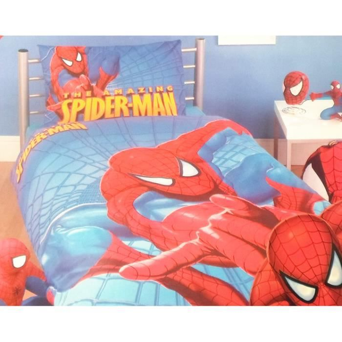 parure de lit enfant spiderman achat vente lit complet. Black Bedroom Furniture Sets. Home Design Ideas