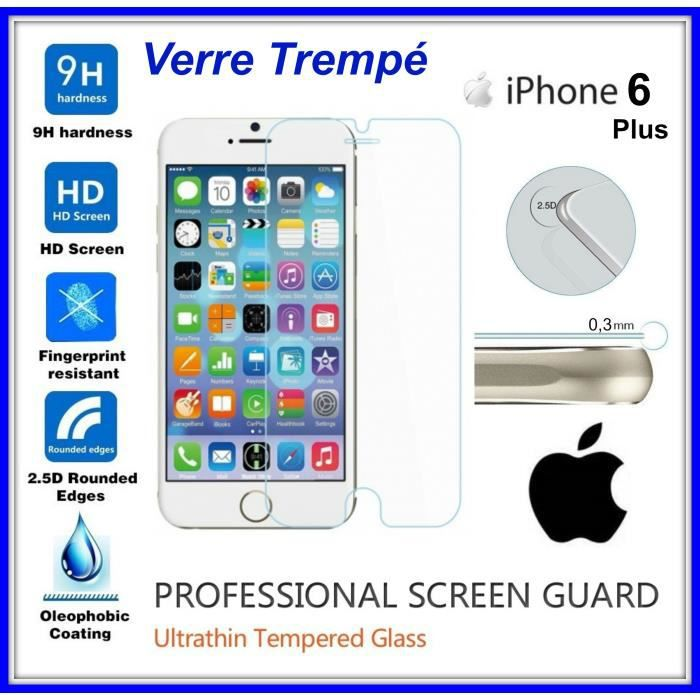 tempered glass vitre de protection en verre tremp 9h 0 3mm 2 5d pour cran iphone 6 plus anti. Black Bedroom Furniture Sets. Home Design Ideas
