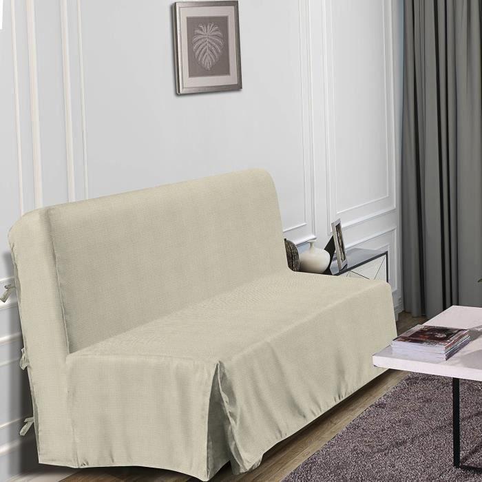 Best Interior Housse de BZ Aspect Lin Dimensions 140x190cm Bleu