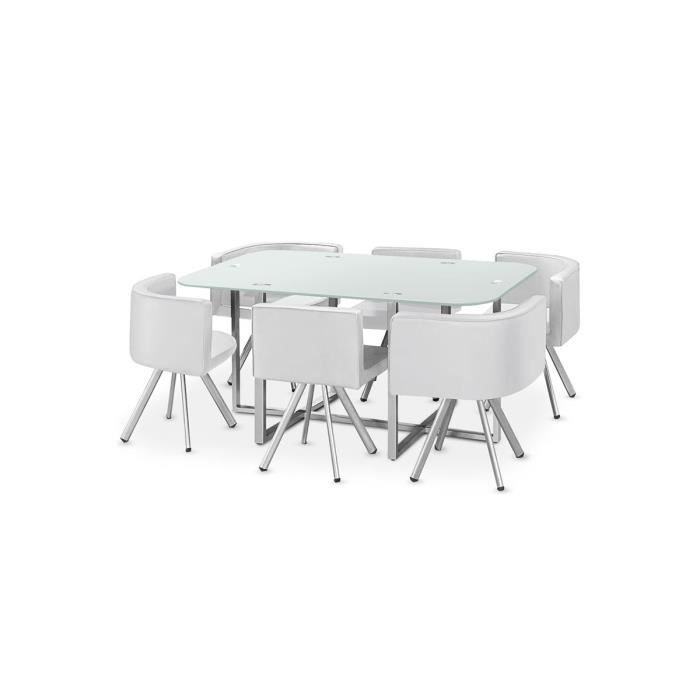 Table manger verre 6 chaises blanc corner xl achat for Chaise table a manger blanc