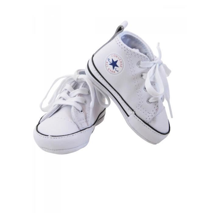 34055df61a1c5 CONVERSE - Baskets All star cuir blanc bébé fille Converse Blanc ...