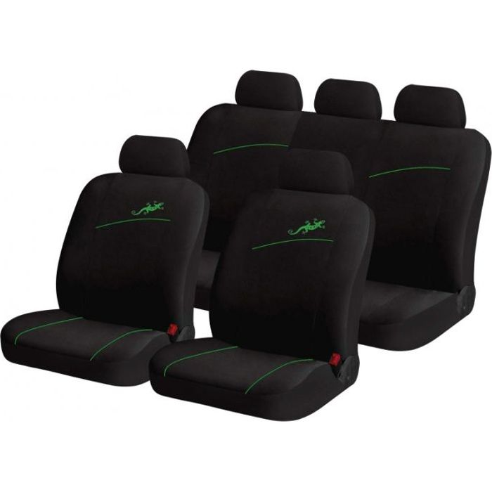 housse siege de voiture auto gecko vert 9 pieces achat vente b che de protection housse. Black Bedroom Furniture Sets. Home Design Ideas