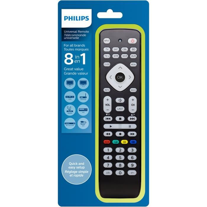 philips srp2018 t l commande universelle 8 en 1 t l commande tv avis et prix pas cher cdiscount. Black Bedroom Furniture Sets. Home Design Ideas