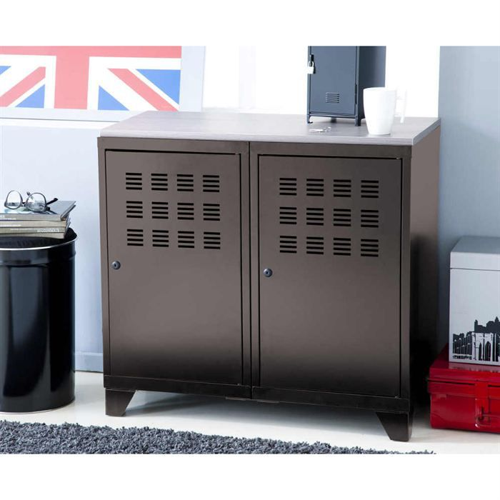 armoire en metal 2 portes achat vente petit meuble. Black Bedroom Furniture Sets. Home Design Ideas