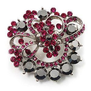 ton noir Broche corsage Diamante rouge et noir jais