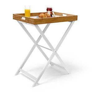 BOUT DE CANAPÉ Table d'appoint pliable bambou plateau amovible Hx
