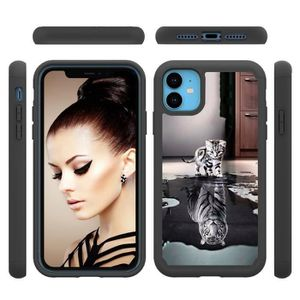 COQUE - BUMPER Coque iPhone 11,Réflexion Ultra Slim 2 en 1 Antich