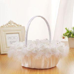2 pièces panier de mariage romantique fille de fleur blanche