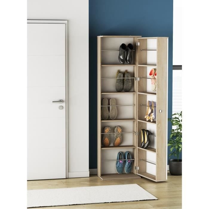ballerina armoire chaussures avec miroir style contemporain d cor ch ne bross l 50 cm. Black Bedroom Furniture Sets. Home Design Ideas
