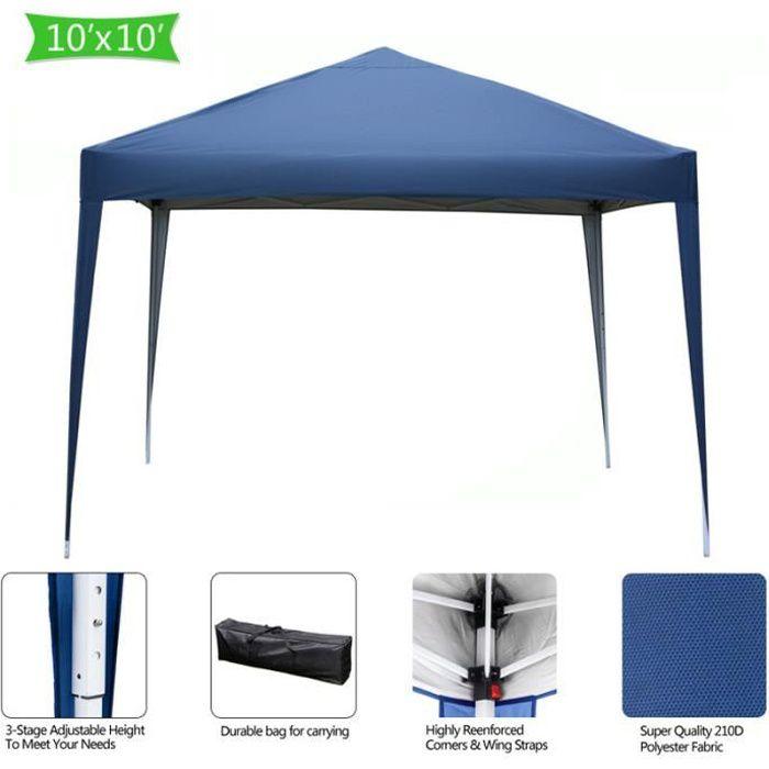 Tonnelle de Jardin 3x3m Pliable Bleu ,Tente Pliante de Jardin Rapide à Installer pour Camping, Festival, Plage, Jardins