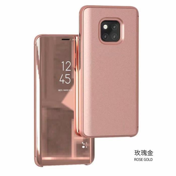 Etui pour iPhone SE (2020 version). HOUSSE CHAUSSETTE rose miroir de luxe vue claire sommeil intelligent réveil titulaire support