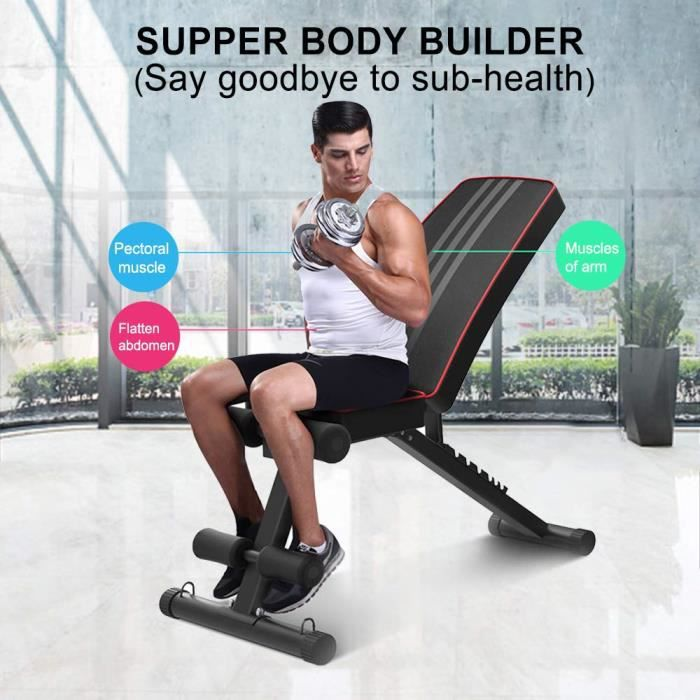 SPORTS Banc de musculation Pliable 6756 - Set Planche couchée Barres