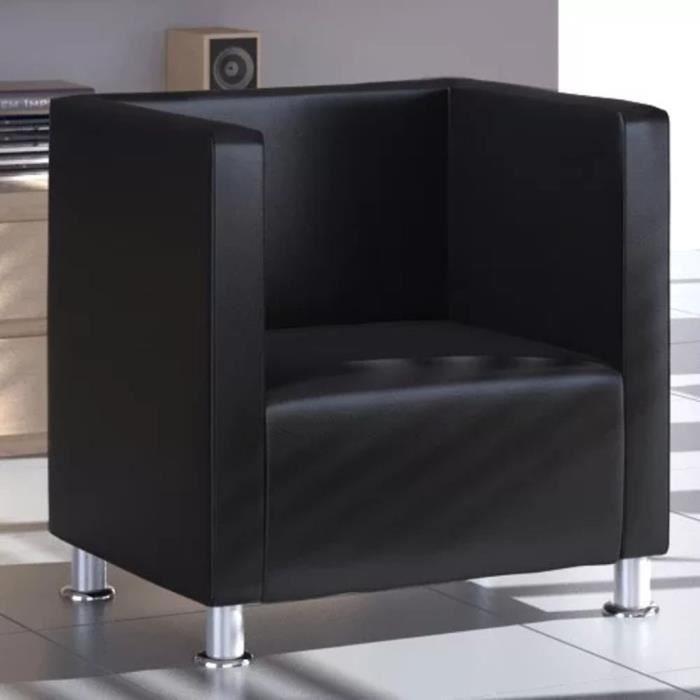 Fauteuil Design de Cube en Cuir synthétique,Fauteuil Relaxation de Salon,noir