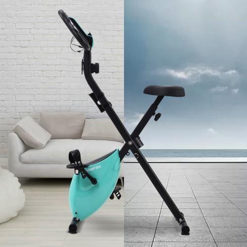Vélo d'exercice pliable magnétique avec siège rembourré et console LCD, vélo d'intérieur stationnaire pour studio de fitness, bleu