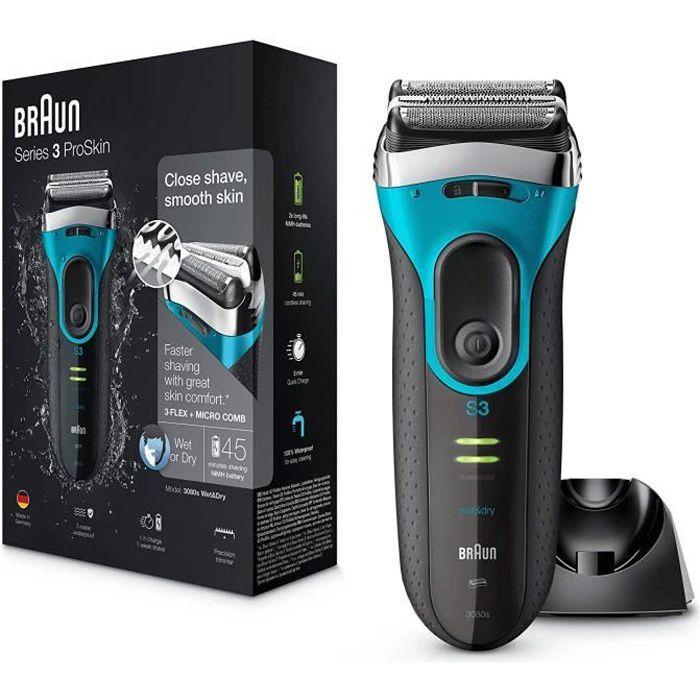 Braun Series 3 ProSkin 3080s Rasoir Électrique Homme Barbe, Noir-Bleu - Rasoir Électrique Rechargeable + Base De Recharge
