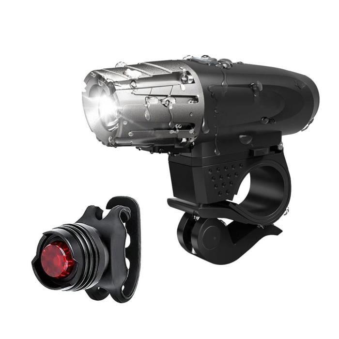 USB Rechargeable LED lampe de bicyclette Phare de velo + Set de Feu arriere