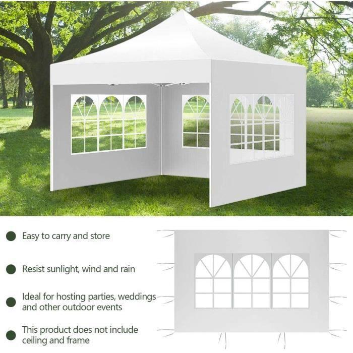 3m x 2m Tonnelle de Jardin Pliable Panneau latéral Gazebo de Tente Étanche Tissu Oxford 210D pour Jardin Extérieur Fête (Blanc[26]