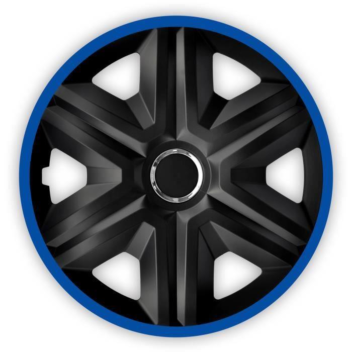 Enjoliveurs de roues FAST LUX noir- bleu 15- lot de 4 pièces