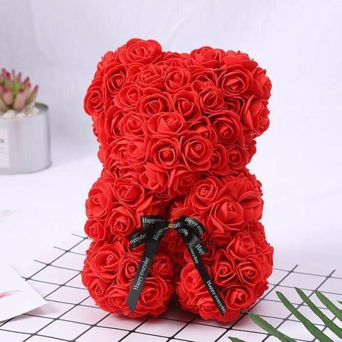 ANG Rose Flower Saint Valentin Ours Des Rose pour Cadeau d'anniversaire, Cadeau de la Saint-Valentin, Décoration de Mariage-Red