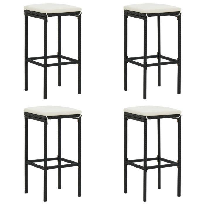 Magic Economique :- Lot de 4 Tabourets de bar avec coussins Mode - Chaise de bar Tabouret de salon- Noir Résine tressée :-106685