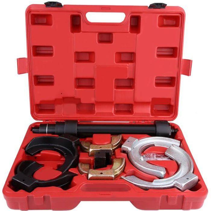 Compresseur de Ressort d'Amortisseurs Auto Moto avec Ressorts 80 mm à 190 mm + 1 Coffret Rouge HY1817 HB069