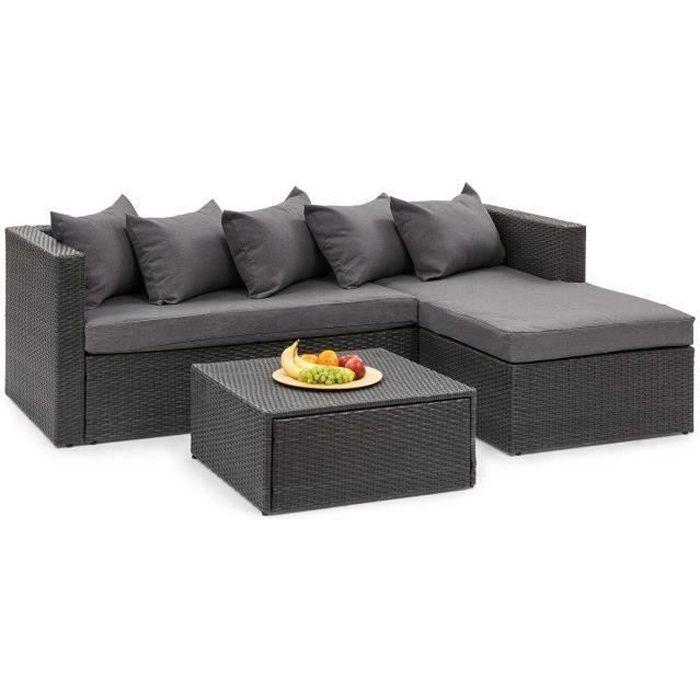 Blumfeldt Theia Lounge Salon de jardin 5 places en résine tressée - canapé, table basse, coussins & housses - gris - poly rotin noir