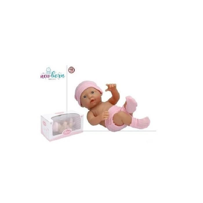 COLOR BABY Poupée bébé 22 cm avec bonnet chaussettes rose Réf 43.881, jouet, jeux +18 mois