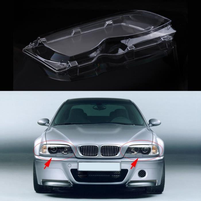 cache de phare 2 pièces phare de voiture couvercle d'objectif clair pour BMW série 3 E46 01-05 lifting 63126924043