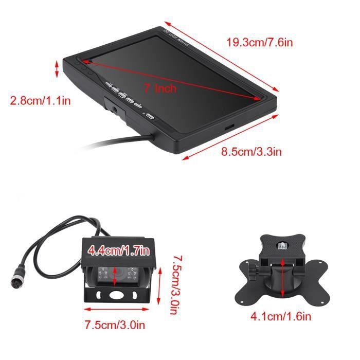 Moniteur LCD de voiture 7 pouces TFT LCD moniteur vue arrière de voiture caméra de recul de recul Vision nocturne pour-ROE