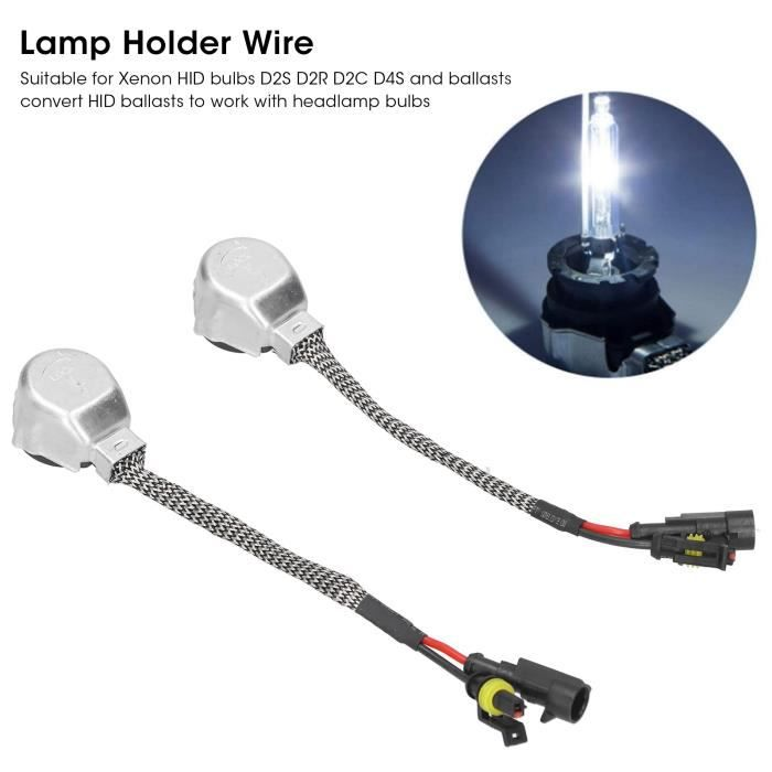 2 pièces Câble de douille de douille pour ampoules Xenon HID D2S D2R D2C D4S et ballasts Aluminium HB057