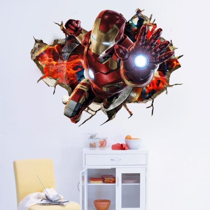 Iron Man Stickers Muraux 3D Avengers Papier Peint Muraux 70x50cm
