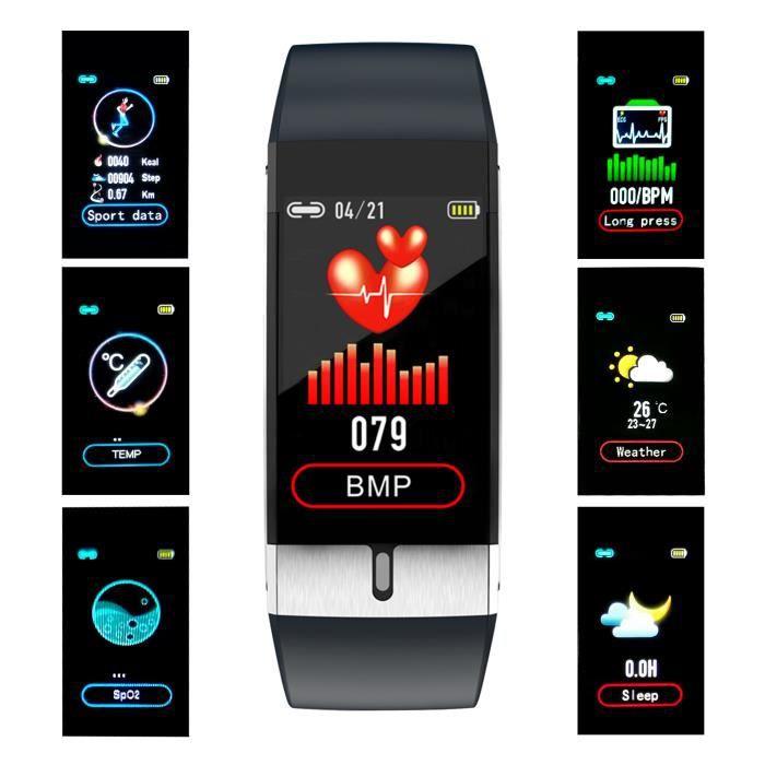 Bracelet de fitness intelligent sans fil - Moniteur de fréquence cardiaque et d'O2 au poignet, TA et moniteur de température