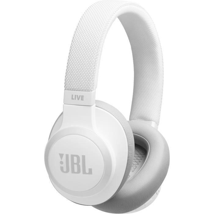JBL Live 650BT Casque supra-auriculaire à réduction de bruit - Assistant vocal intégré - Blanc
