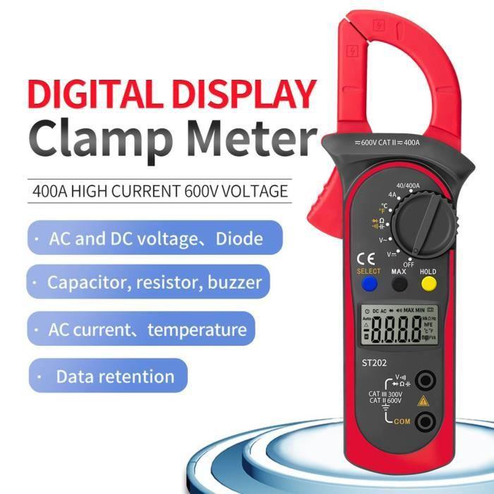 Pince Ampèremétrique Numérique, Multimètre de Mesure Automatique et Voltmètre Mesure Testeur de Tension, Courant Alternatif ect.