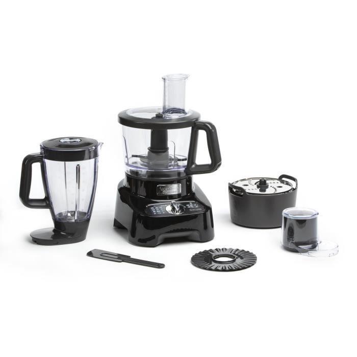 MOULINEX FP821811 Robot Cuisine Multifonction DoubleForce - 1000 W - Bol 3 L - Blender 2 L - Hachoir - Disques - Râper - Emincer - L